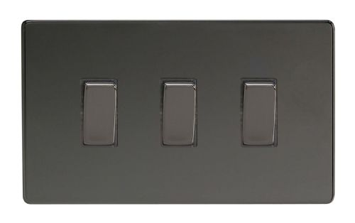 Varilight XDI93S Screwless Iridium Black 3 Gang 10A 1 or 2 Way Rocker Light Switch (Twin Plate)